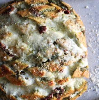 Cheesy Pesto Sundried Tomato Pull Apart Bread