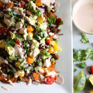 Loaded Sweet Potato Nachos with Greek Yogurt Chipotle Crema