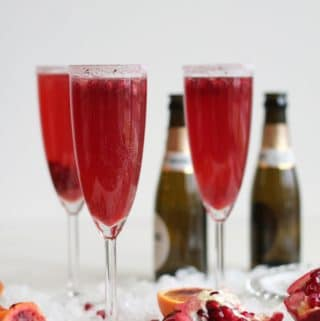 Blood Orange Pomegranate Mimosas with Vanilla Bean Sugar + a video!