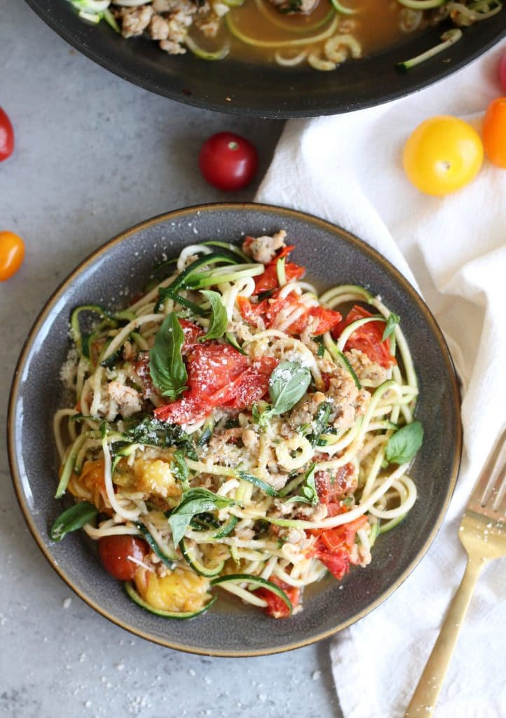 Garlic Roasted Tomato and Chicken Sausage Zucchini Noodles