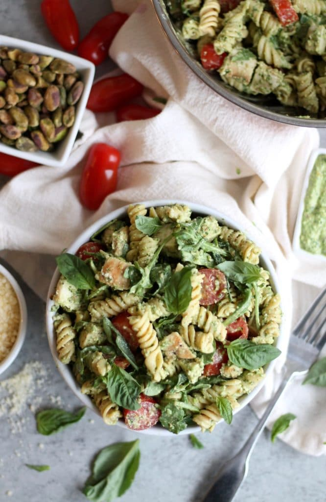 Greek Yogurt Caesar Pesto Pasta Salad with Grilled Chicken and Arugula