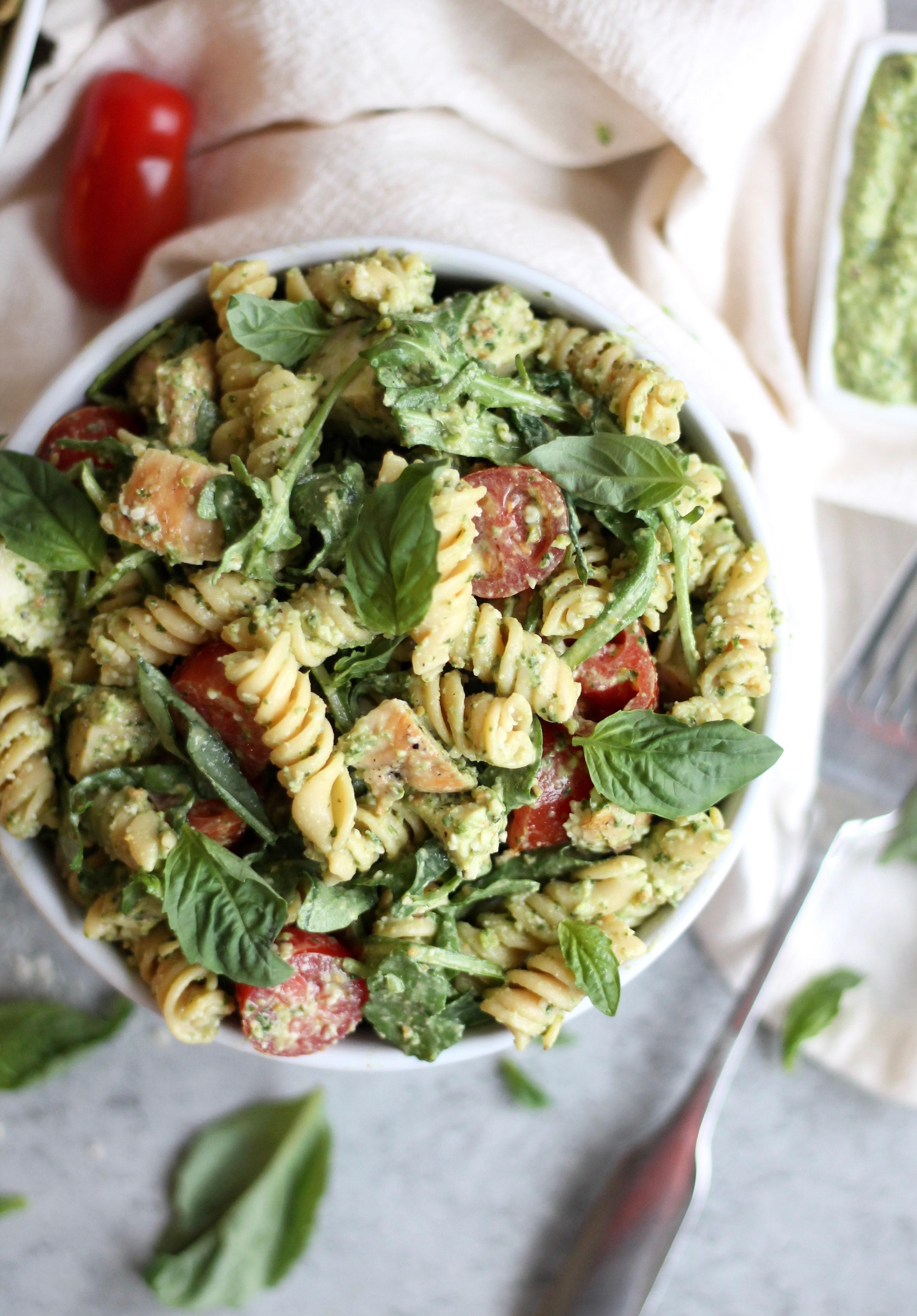 Greek Yogurt Caesar Pesto Pasta Salad with Grilled Chicken and Arugula