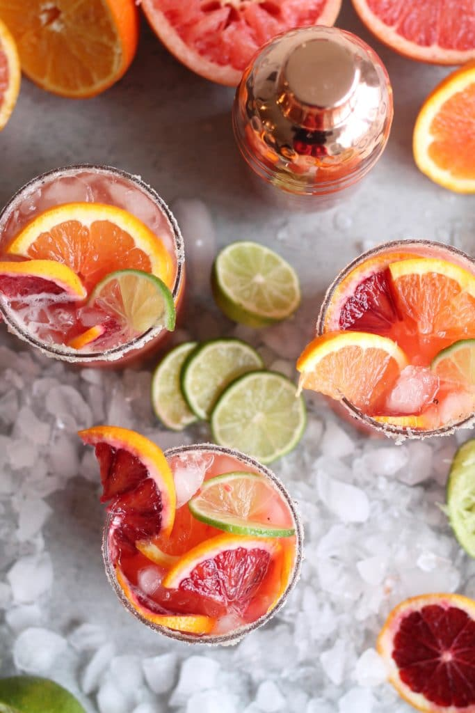 Winter Citrus Margaritas with Vanilla Bean Salty Sugar