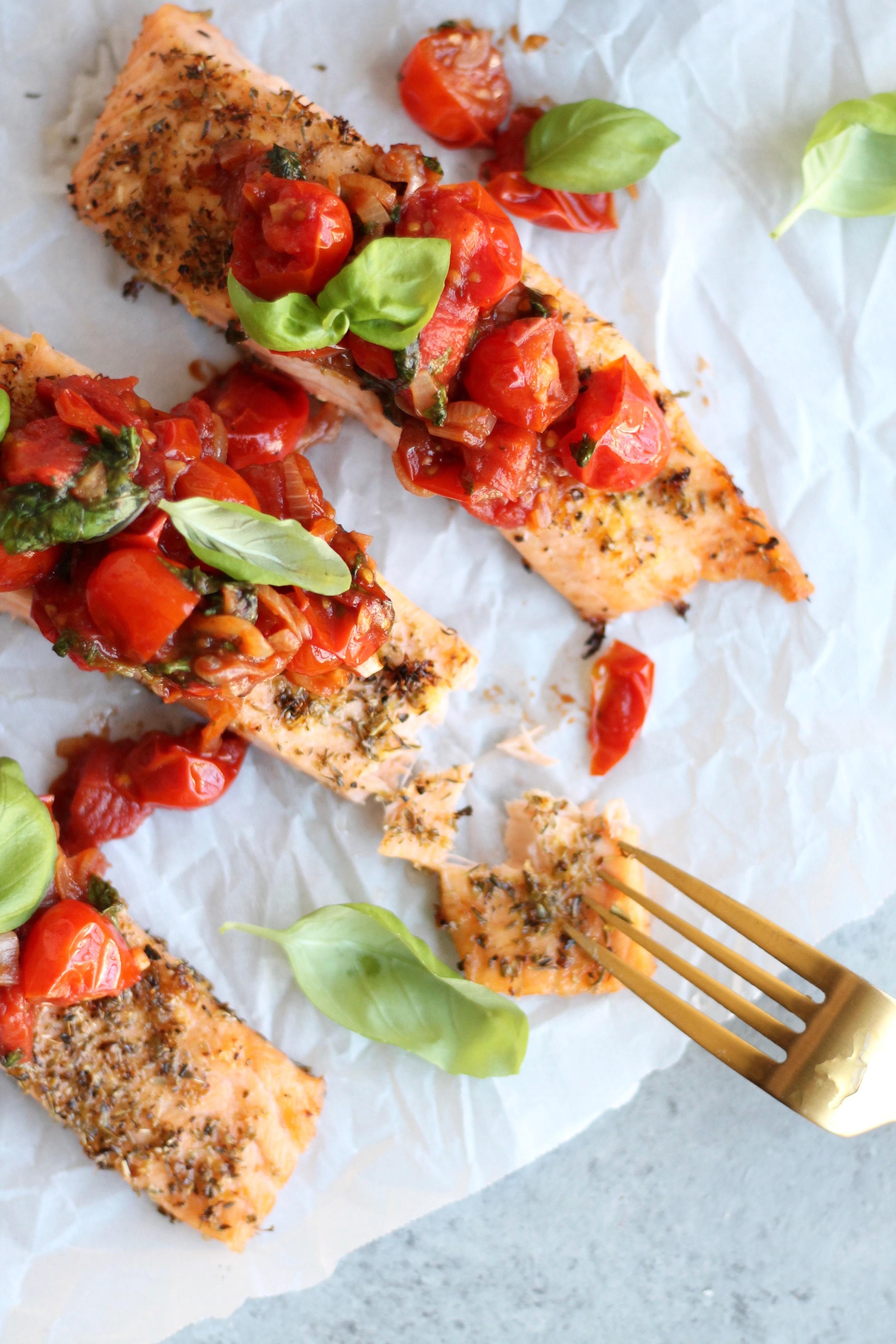 Salmon with Warm Shallot Tomato Basil Salsa