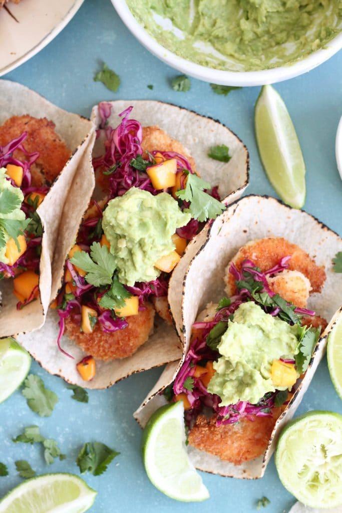 Coconut Shrimp Tacos with Mango Sweet Chili Slaw