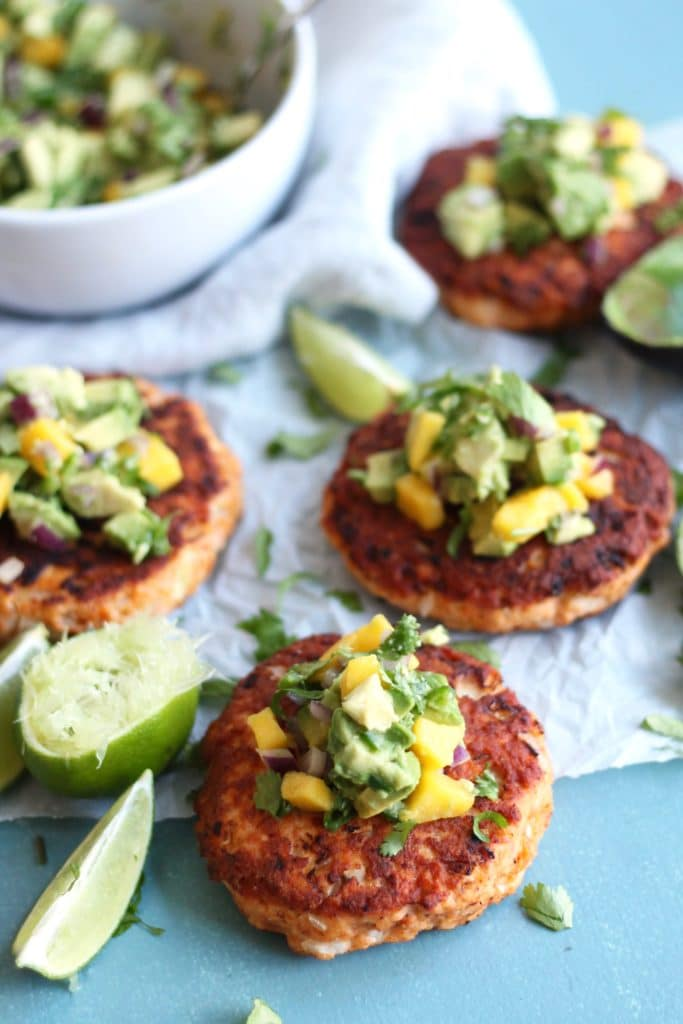 Salmon Burgers with Avocado Mango Salsa