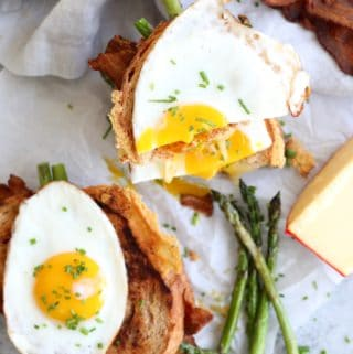 Gouda Grilled Cheese with Lemon Asparagus, Bacon, and a Fried Egg