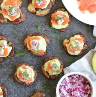 Smoked Salmon Crispy Smashed Potato Bites with Avocado Dill Sauce