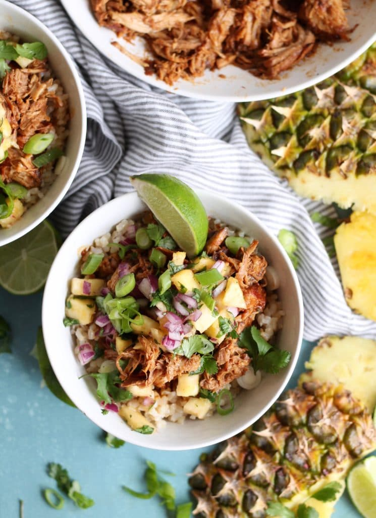 Hawaiian Pulled Pork Rice Bowls with Pineapple Salsa