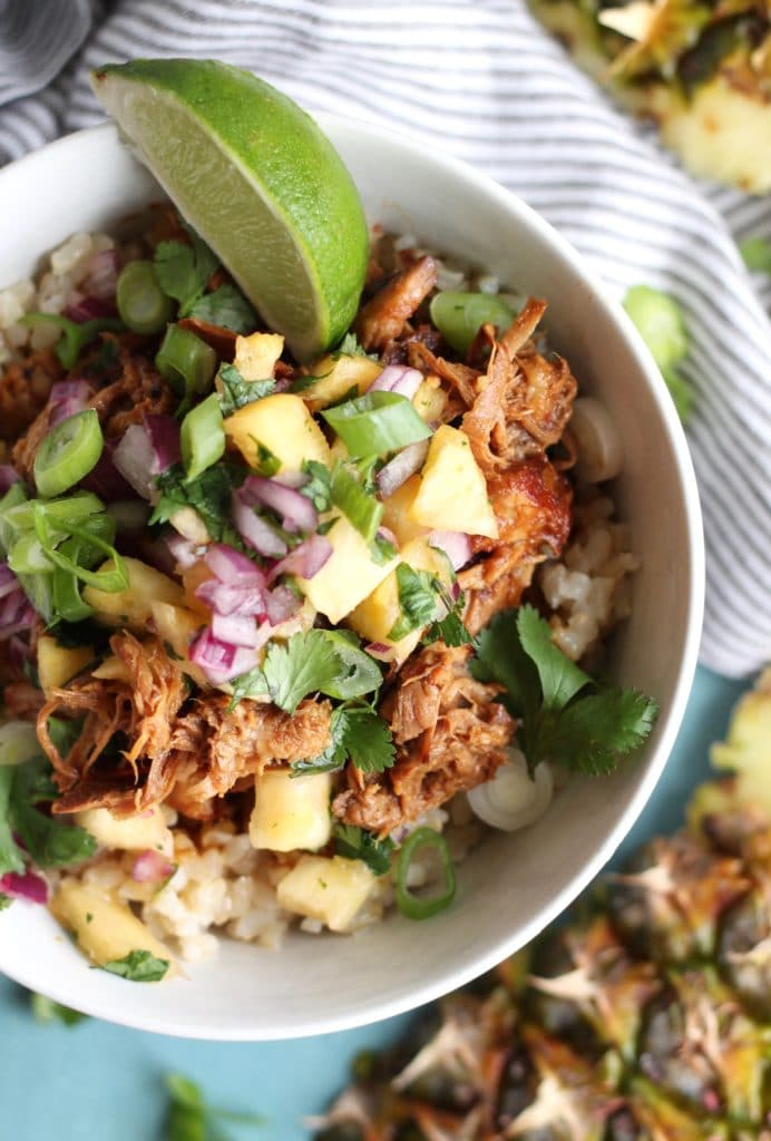 Hawaiian Pulled Pork Rice Bowls with Pineapple Salsa