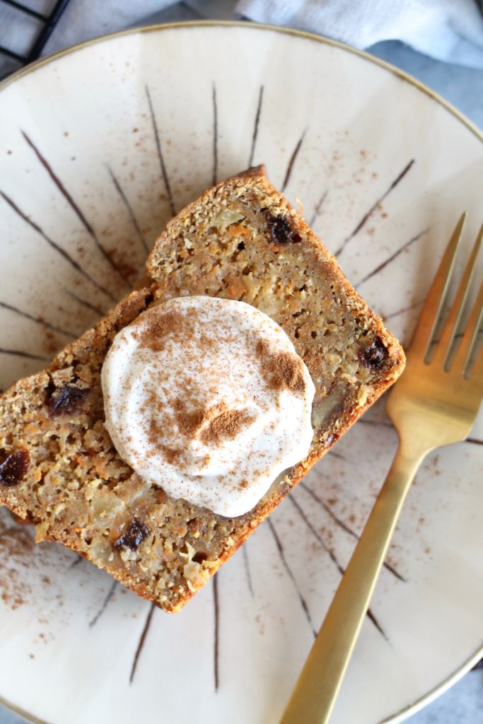 Carrot Cake Loaf with Vanilla Maple Ricotta