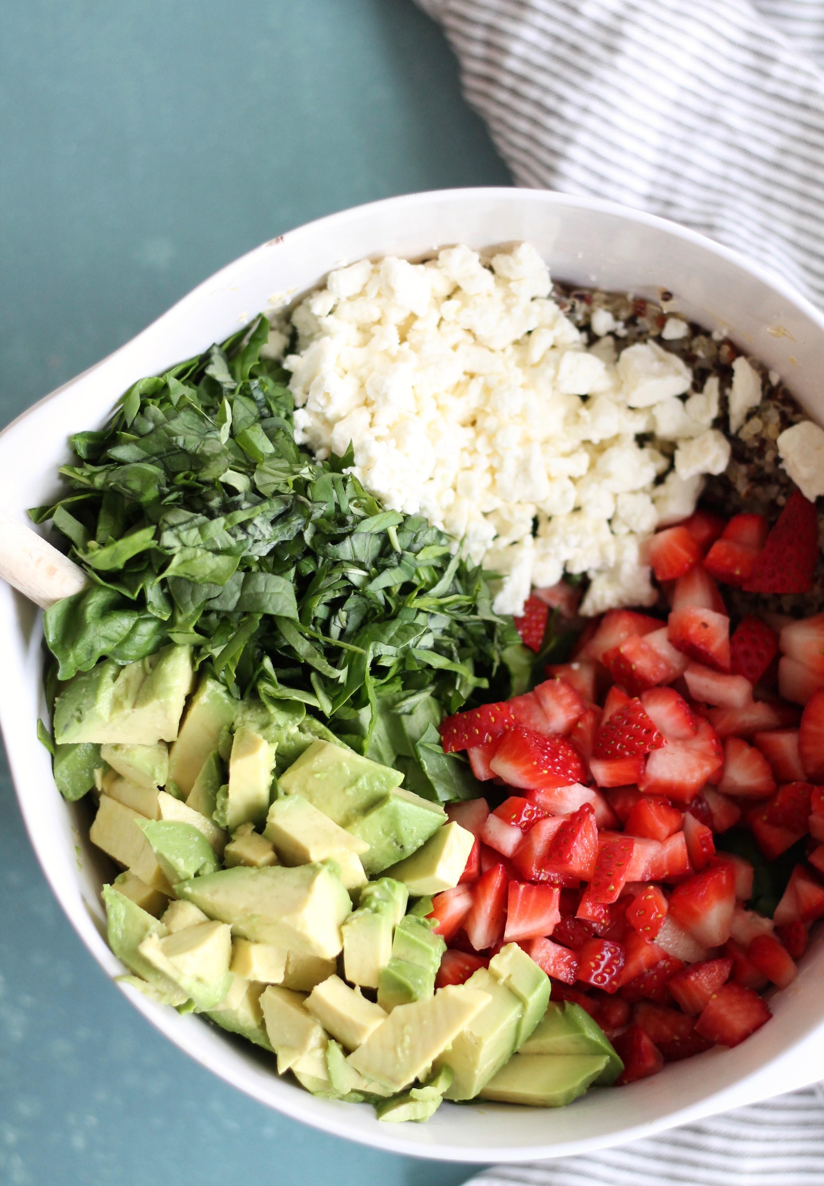 Strawberry Avocado Feta Spinach Quinoa Salad with Basil ...