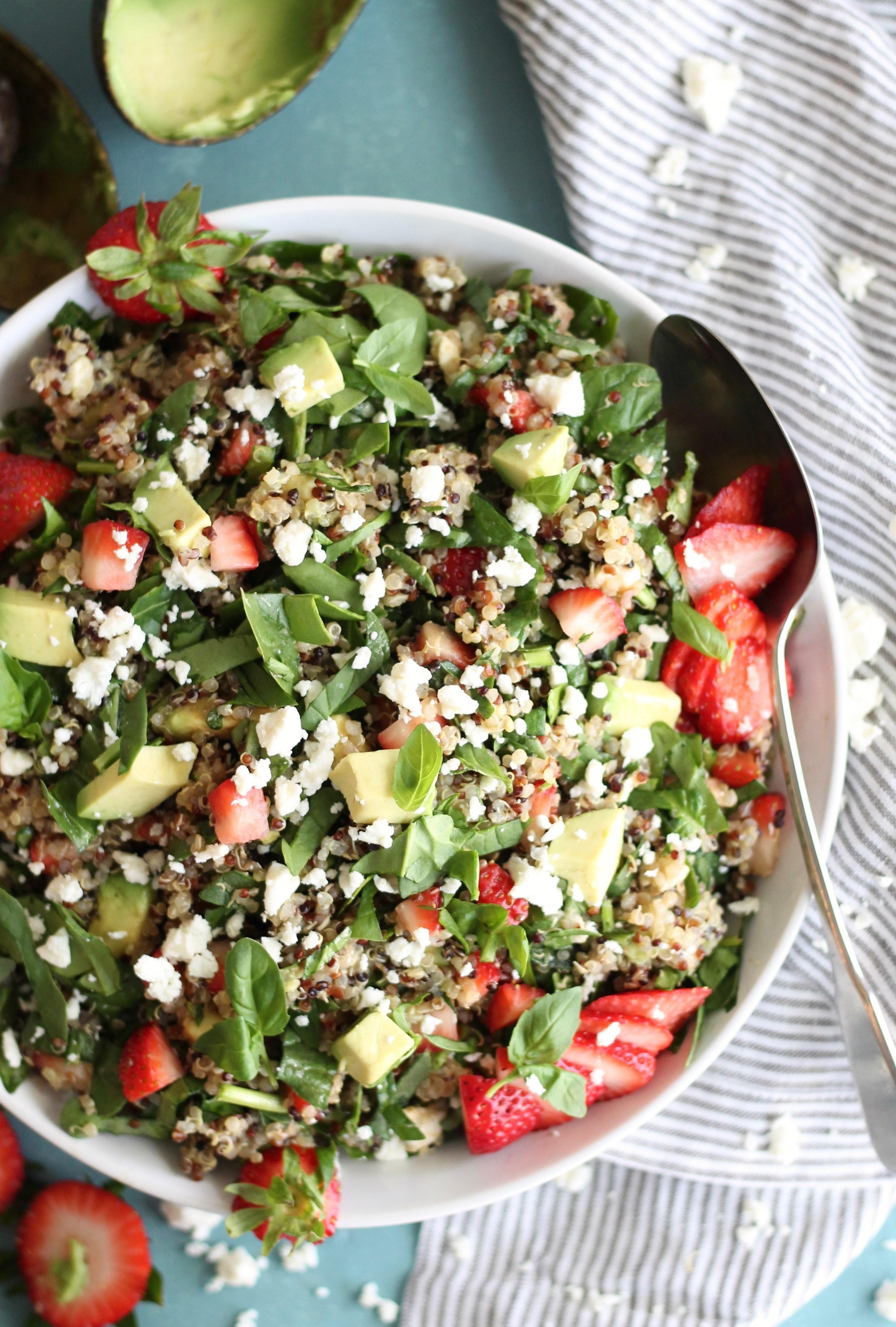 Strawberry Avocado Feta Spinach Quinoa Salad with Basil and Balsamic