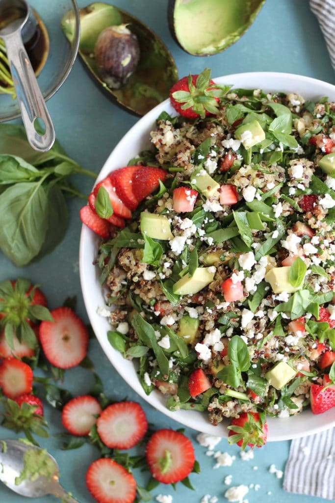 Strawberry Avocado Feta Spinach Quinoa Salad