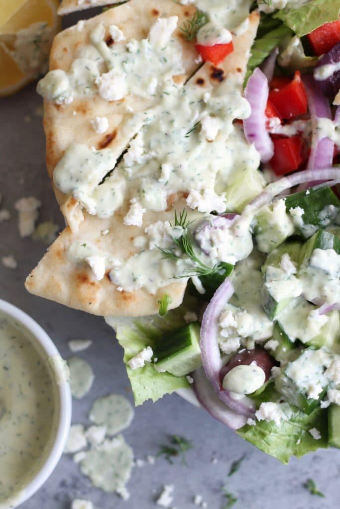 Greek Grilled Chicken Salads with Tzatziki Dressing