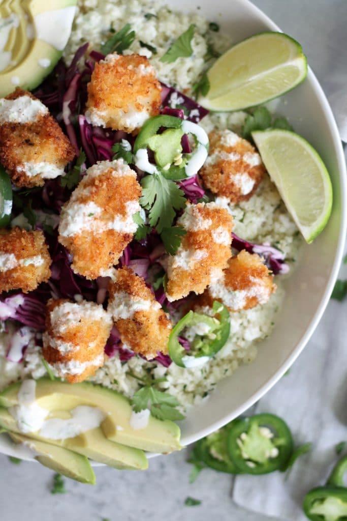 Crispy Fish Taco Cauliflower Rice Bowls
