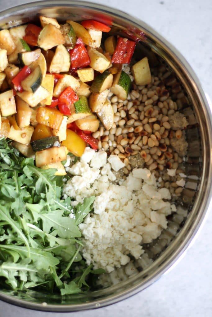 Balsamic Roasted Vegetable Quinoa Salad with Feta and Arugula