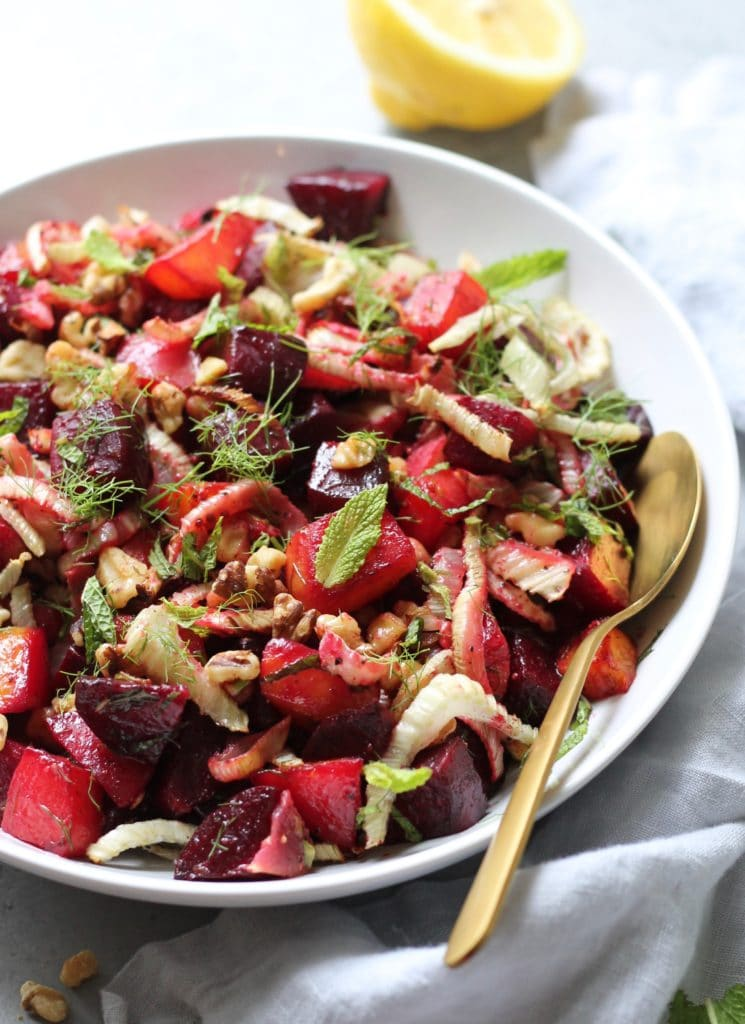 Roasted Beet and Fennel Salad with Mint and Toasted Walnuts