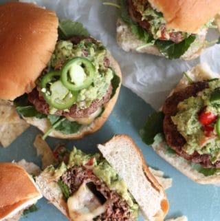 Pepper Jack Stuffed Jalapeño Guacamole Burgers