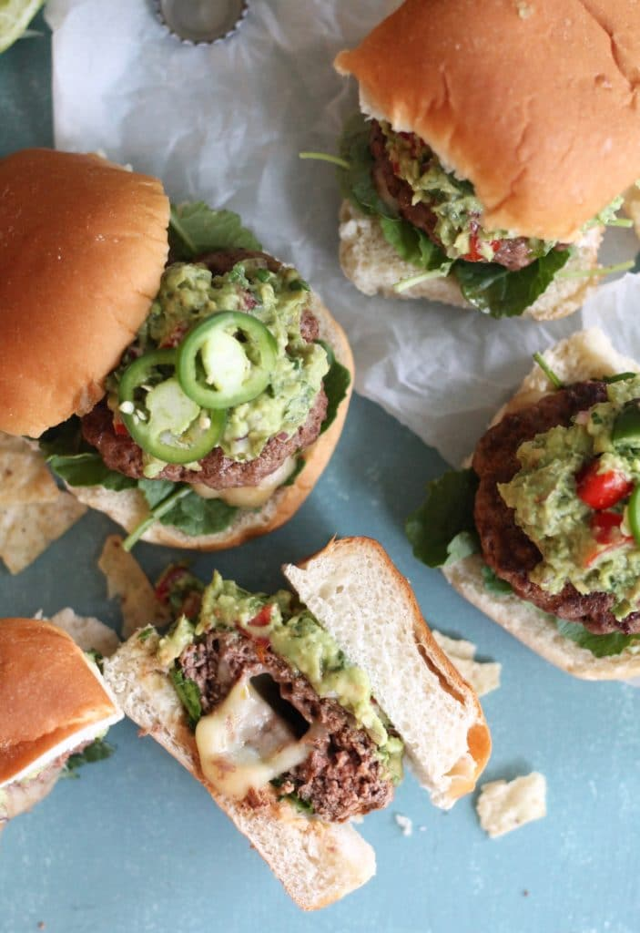Pepper Jack Stuffed Spicy Guacamole Burgers