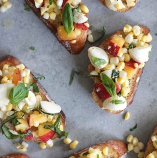 Peach Corn Mozzarella Basil Bruschetta