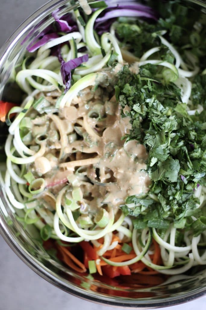 Zucchini Noodle Salad with Sesame Peanut Sauce