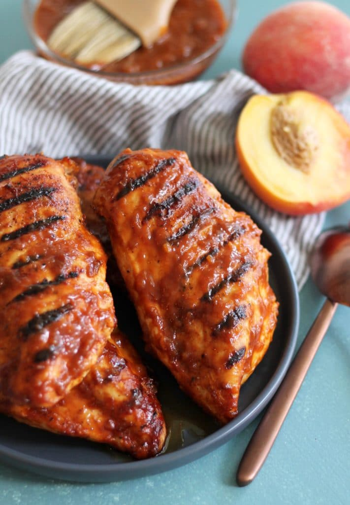 Peach Bourbon BBQ Grilled Chicken