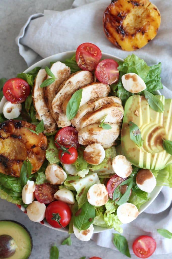 Grilled Avocado Peach Salad