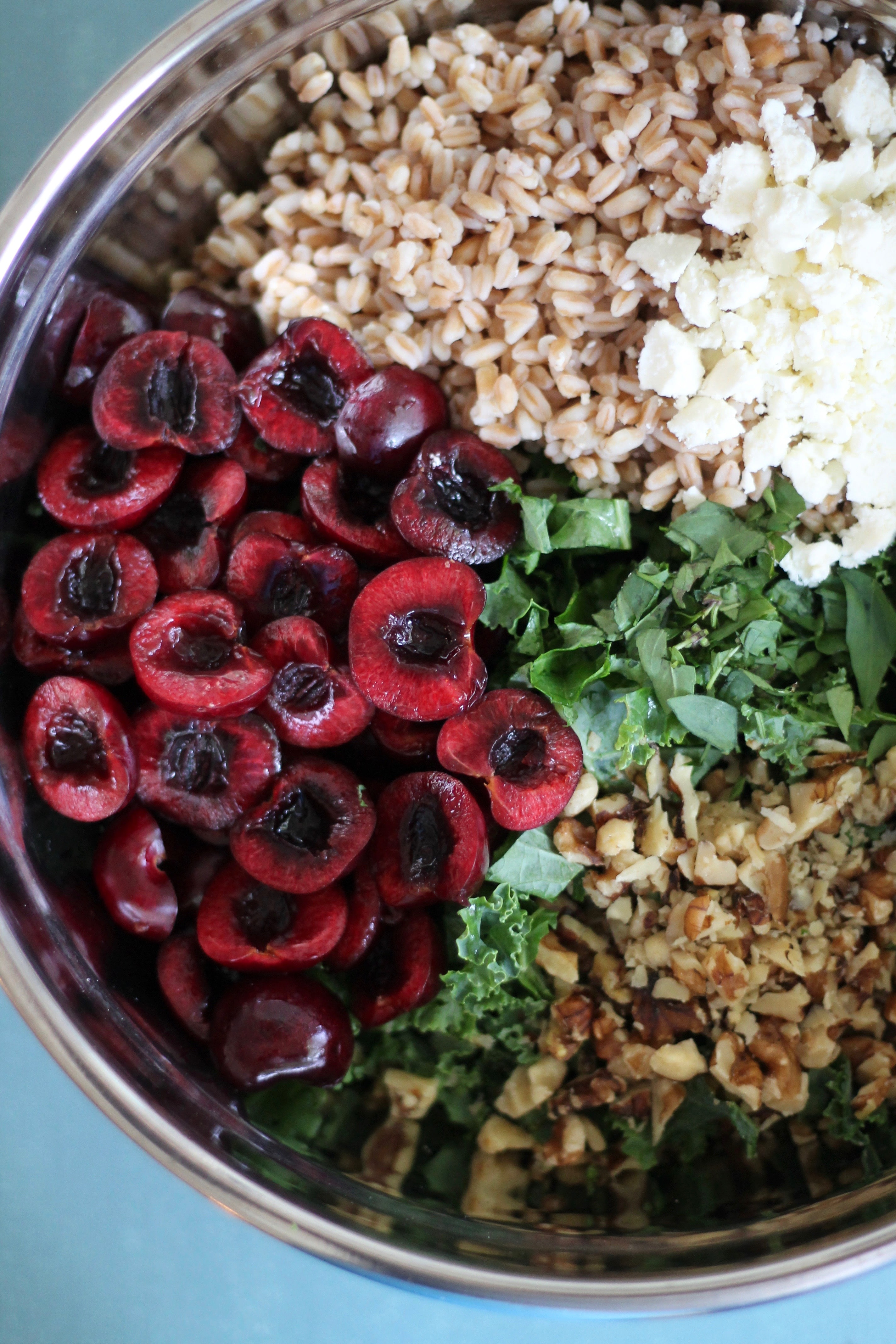 Cherry Kale Salad with Farro, Avocado, Feta, and Cherry ...