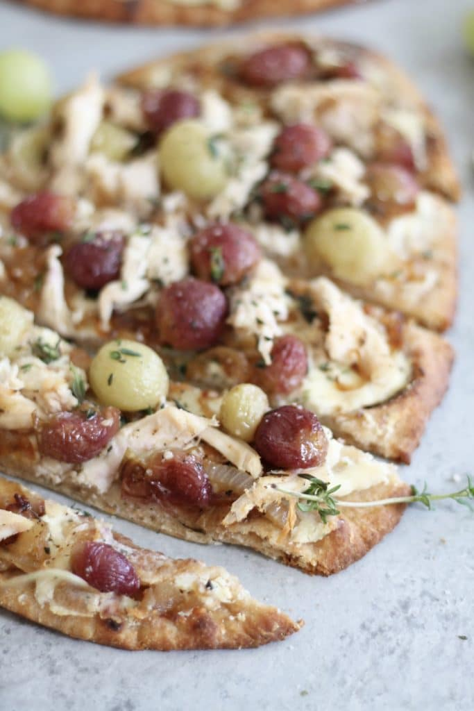 Roasted Grape Caramelized Onion Chicken Flatbreads with Garlic Herb Cheese