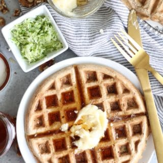Zucchini Bread Waffles with Salted Maple Butter