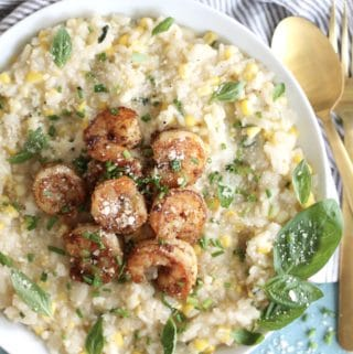 Sweet Corn Risotto with Old Bay Shrimp