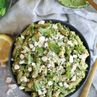 Pasta with Broccoli Pesto, Lemon, and Feta