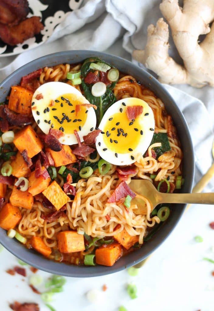 Roasted Sweet Potato Bacon Red Curry Ramen
