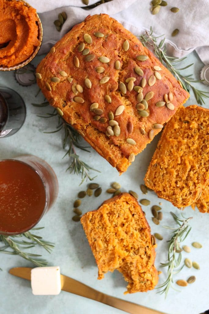 Rosemary Cheddar Pumpkin Beer Bread