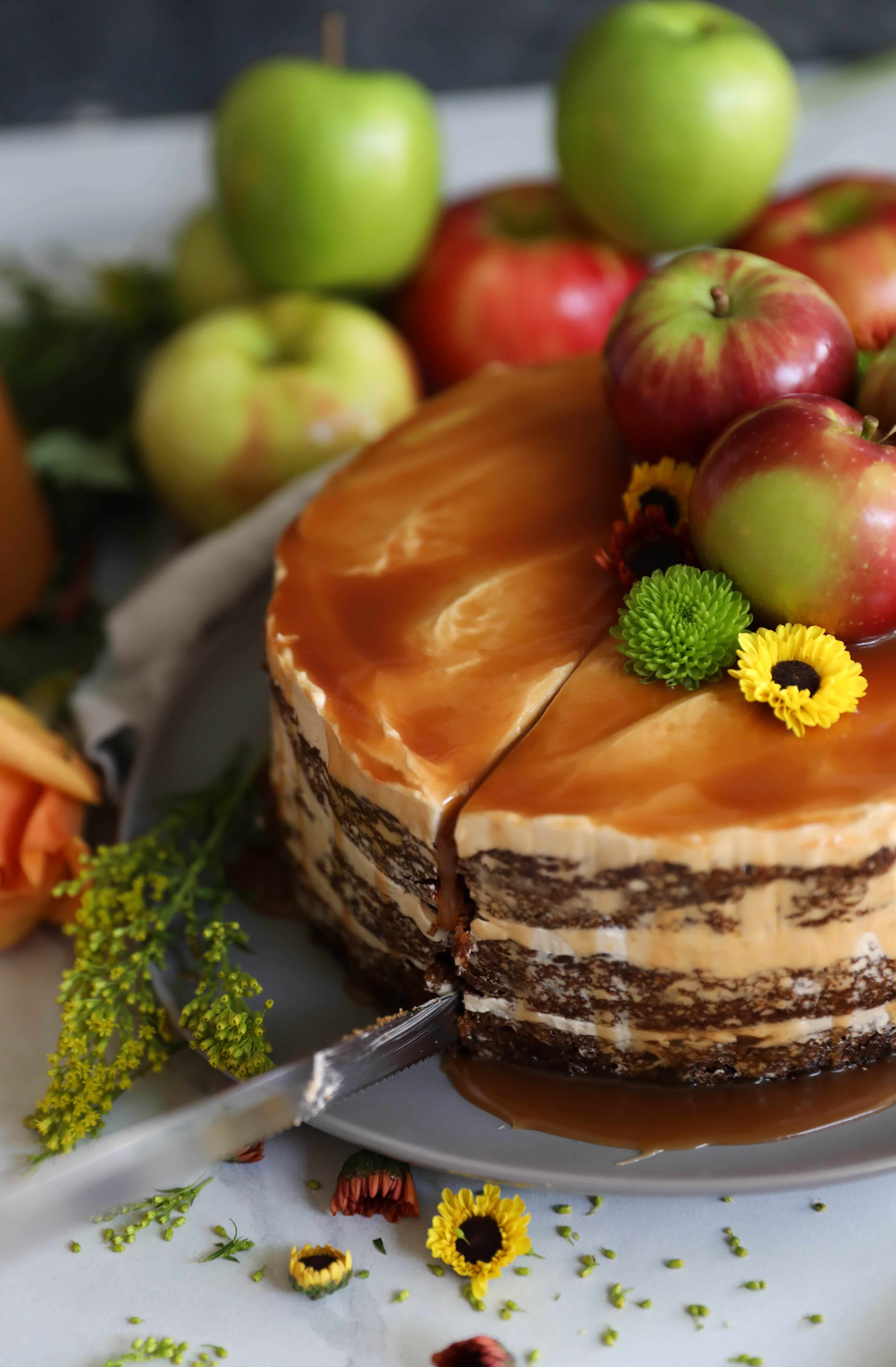 Spiced Apple Cake with Brown Sugar Buttercream and Apple Cider Bourbon Caramel