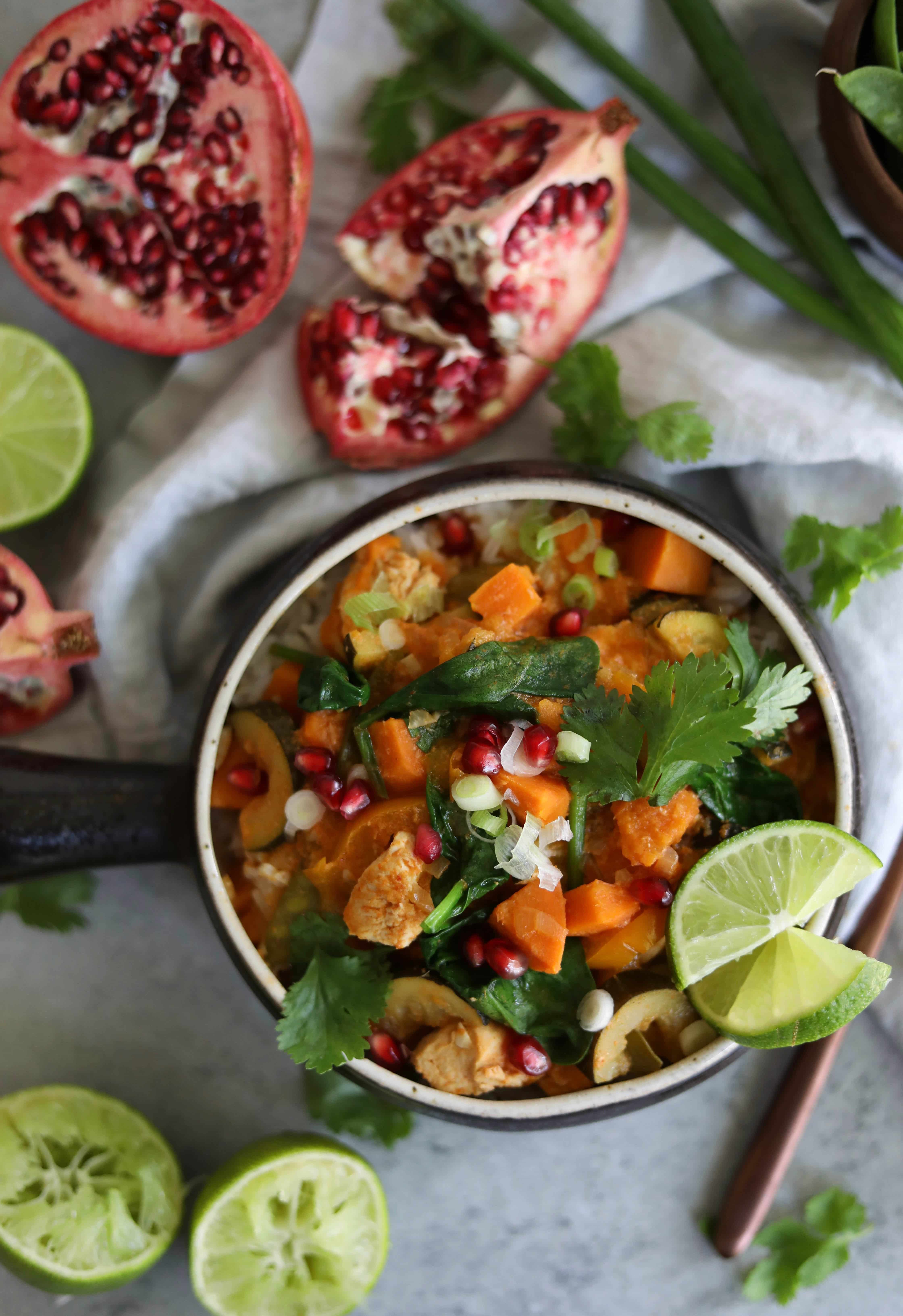 Slow Cooker Coconut Red Curry Chicken and Vegetables