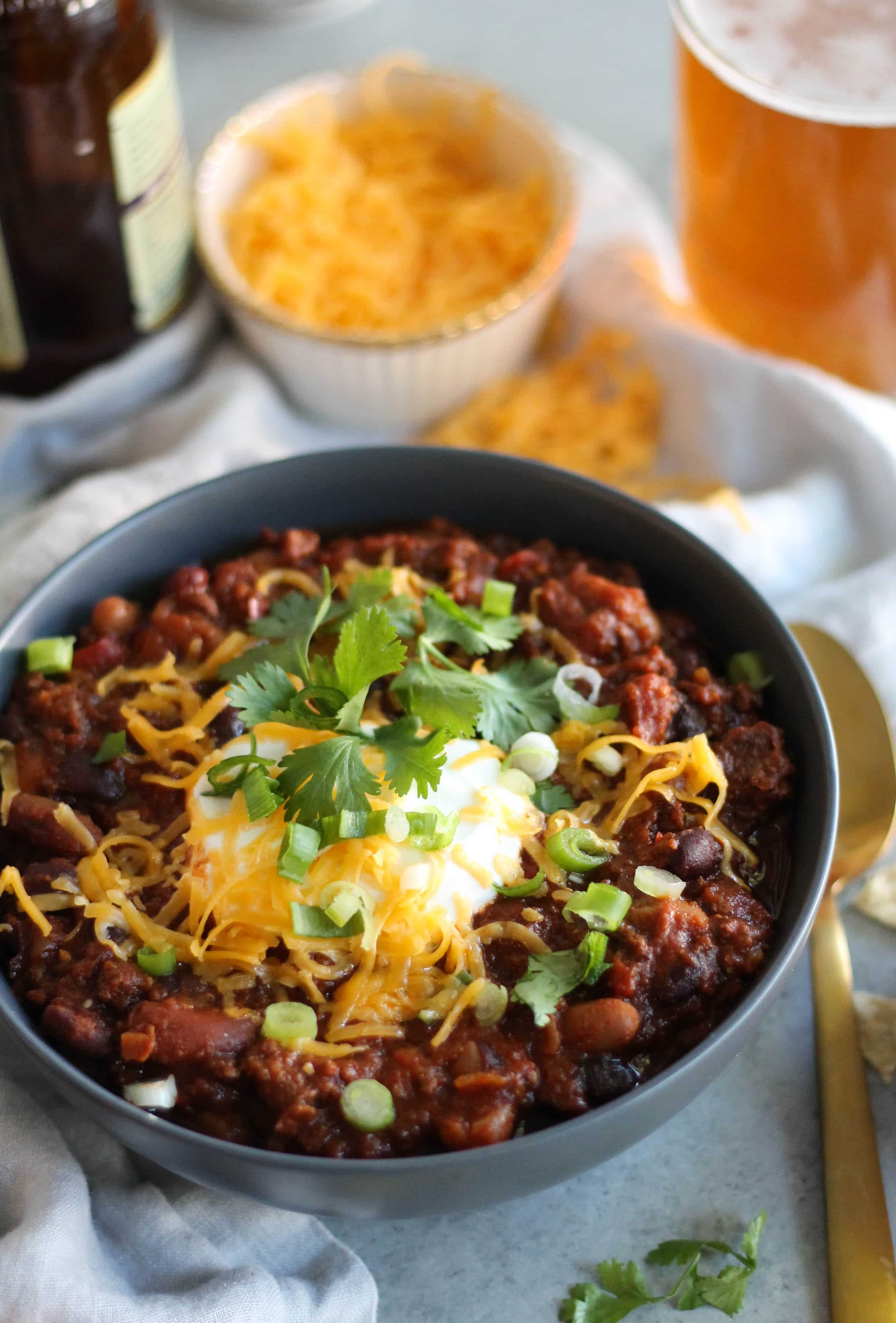 Slow Cooker Beef and Three Bean Chili