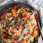 Mushroom and Garlic Roasted Tomato Spaghetti Carbonara