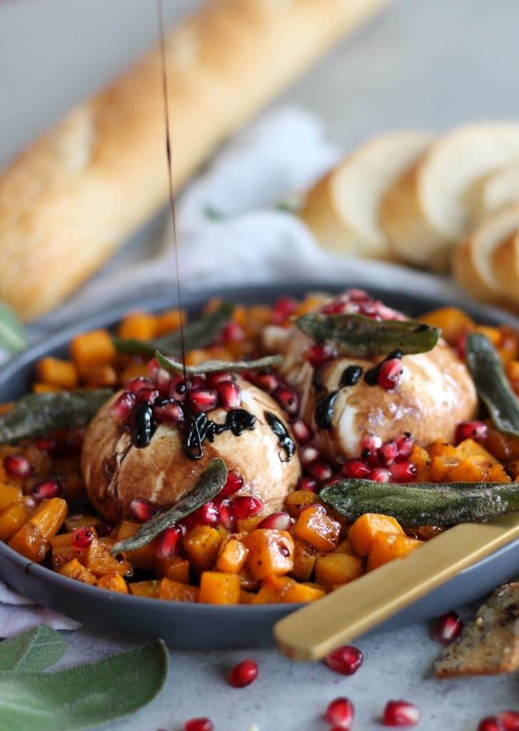 Burrata with Maple Roasted Butternut Squash, Pomegranate Balsamic Glaze, and Crispy Sage