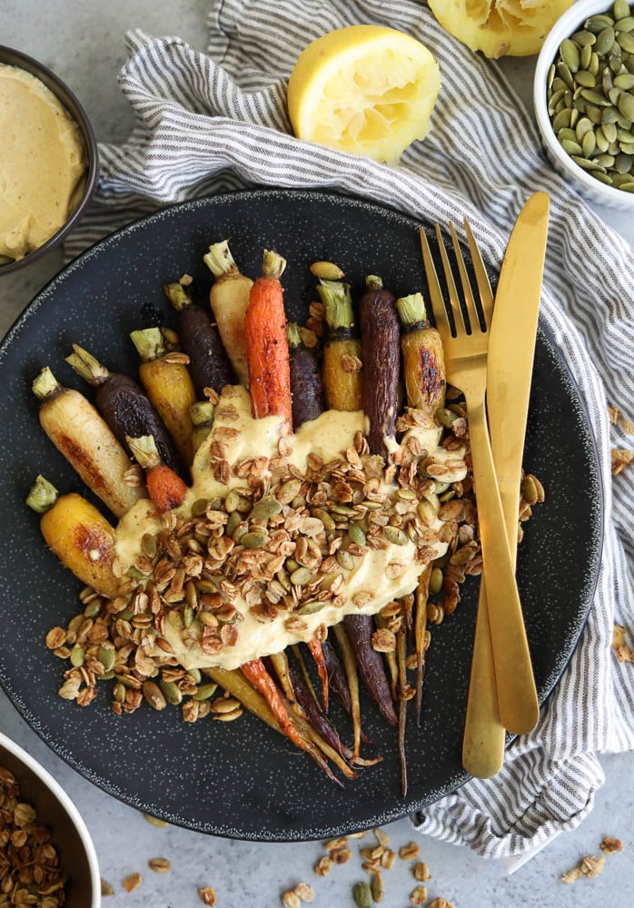 Roasted Carrots with Curry Mascarpone Yogurt and Pumpkin Seed Granola