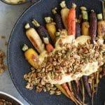Roasted Carrots with Curry Mascarpone Yogurt and Pumpkin Seed Granola
