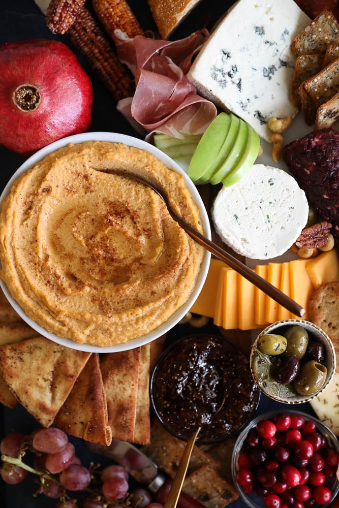 Sweet Potato Hummus with Brown Butter Spiced Pita Chips + A Thanksgiving Cheeseboard!