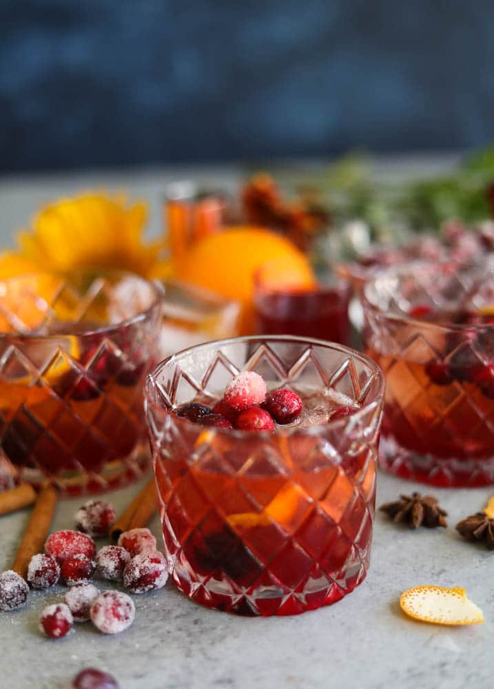 Spiced Cranberry Bourbon Old Fashioned