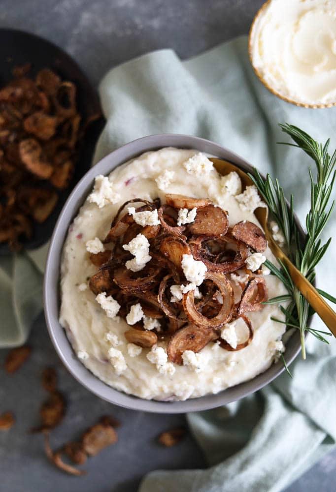 Garlic and Herb Cheesy Mascarpone Mashed Potatoes with Crispy Shallots