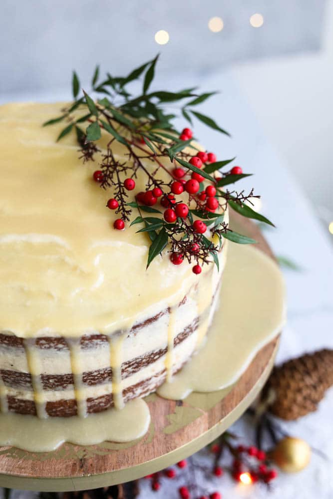 Eggnog Cake with White Chocolate Rum Ganache