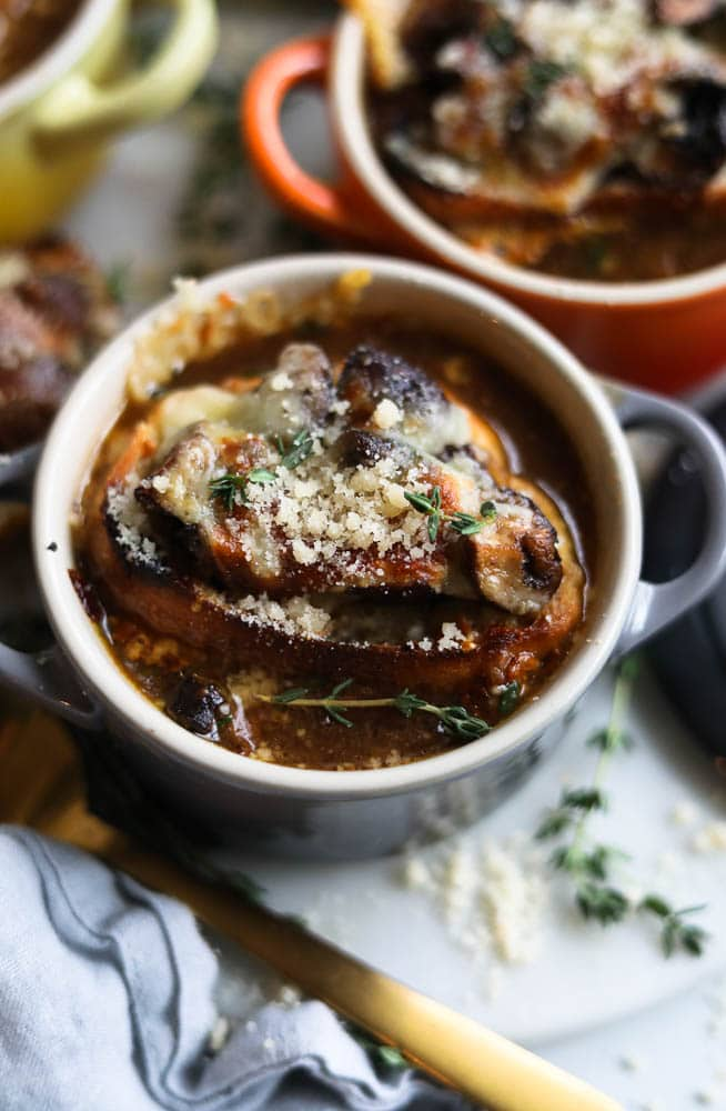 French Onion Soup with Cheesy Mushroom Toasts
