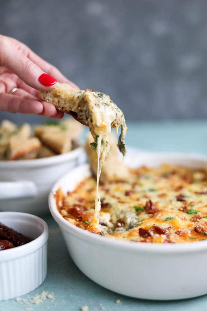 Cheesy Bacon Sun-Dried Tomato Spinach Dip with Garlic Bread Dippers