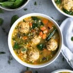 Mini Meatball Chicken Noodle Soup with Spinach