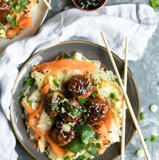 Chili Garlic Sesame Glazed Pork Meatballs with Napa Cabbage Sauté